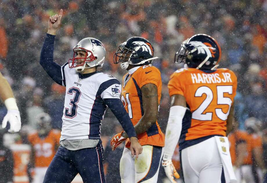 FILE - In this Nov. 29, 2015, file photo, New England Patriots kicker Stephen Gostkowski (3) celebrates his game-tying field goal during the second half of an NFL football game against the Denver Broncos, in Denver. Denver and New England will play in the AFC Championship game Sunday, Jan. 24, 2016, in Denver. (AP Photo/Joe Mahoney, File) Photo: AP / FR170458 AP