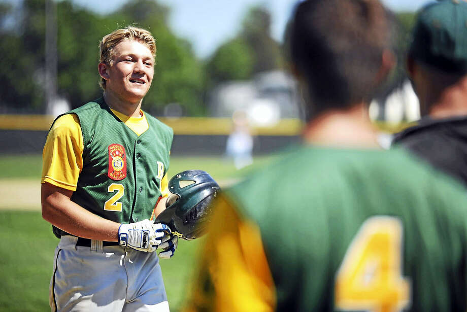 RCP shortstop Cory Baldwin heads to the dugout after blasting a two-run homer in the third inning against West Hartford on Thursday at Monnes Field. Photo: Jimmy Zanor - The Middletown Press