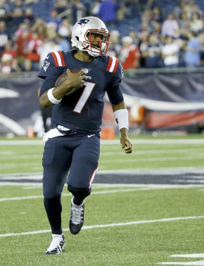 Patriots quarterback Jacoby Brissett injured his thumb in Thursday's win over the Texans. Photo: Elise Amendola — The Associated Press   / AP