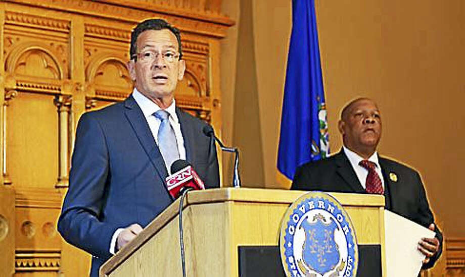 Gov. Dannel P. Malloy and Connecticut NAACP President Scot X. Esdaile Photo: Christine Stuart Photo
