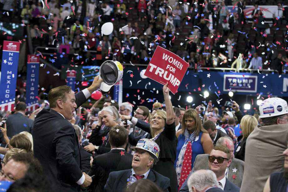 People celebrate after Republican presidential candidate Donald Trump's speech during the final night of the Republican National Convention, Thursday in Cleveland. Photo: ASSOCIATED PRESS  / AP