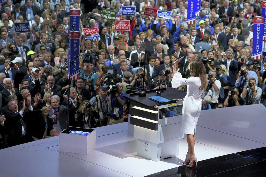 Melania Trump, wife of Republican presidential candidate Donald Trump, waves to the delegates after her speech during the opening day of the Republican National Convention in Cleveland on Monday. Photo: ASSOCIATED PRESS  / Copyright 2016 The Associated Press. All rights reserved. This material may not be published, broadcast, rewritten or redistribu