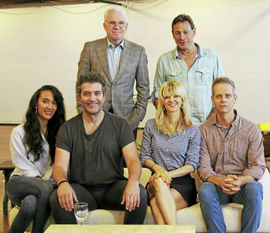 "Steve Martin, top left, stands with Gordon Edelstein over ""Meteor Shower"" actors, from left, Sophina Brown, Craig Bierko, Arden Myrin and Patrick Breen. Photo: Photo Courtesy Of Long Wharf"