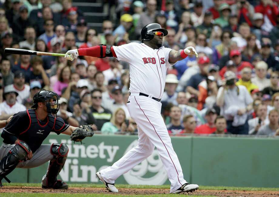 David Ortiz watches his ground-rule double in the second inning against the Indians on Sunday. Photo: Steven Senne — The Associated Press  / Copyright 2016 The Associated Press. All rights reserved. This material may not be published, broadcast, rewritten or redistribu