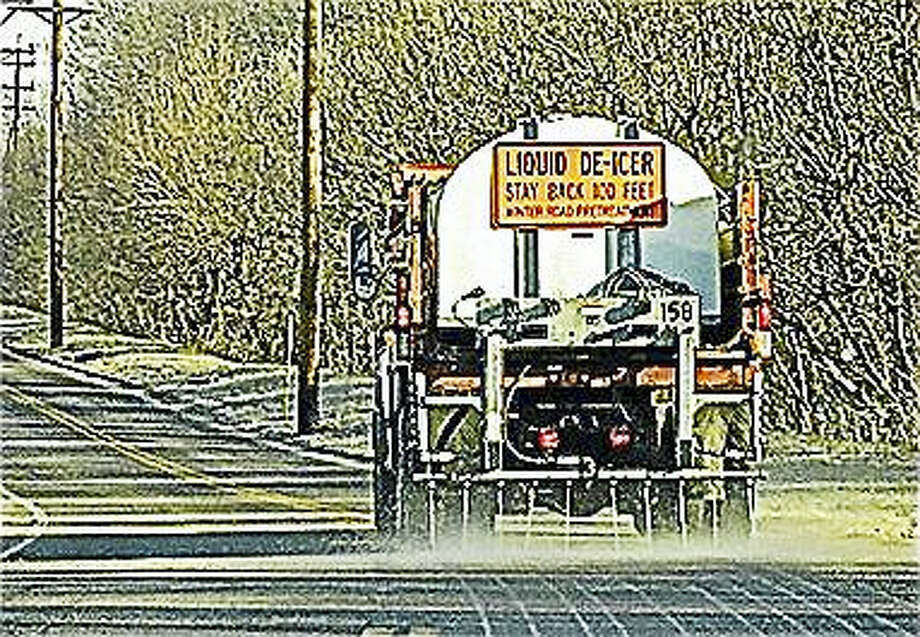 A truck spreads brine from fracked gas wells to de-ice winter roads. Many communities are working to pass ordinances against the trucking of fracking waste through their towns. Photo: Courtesy Protectingourwaterswordpress.com