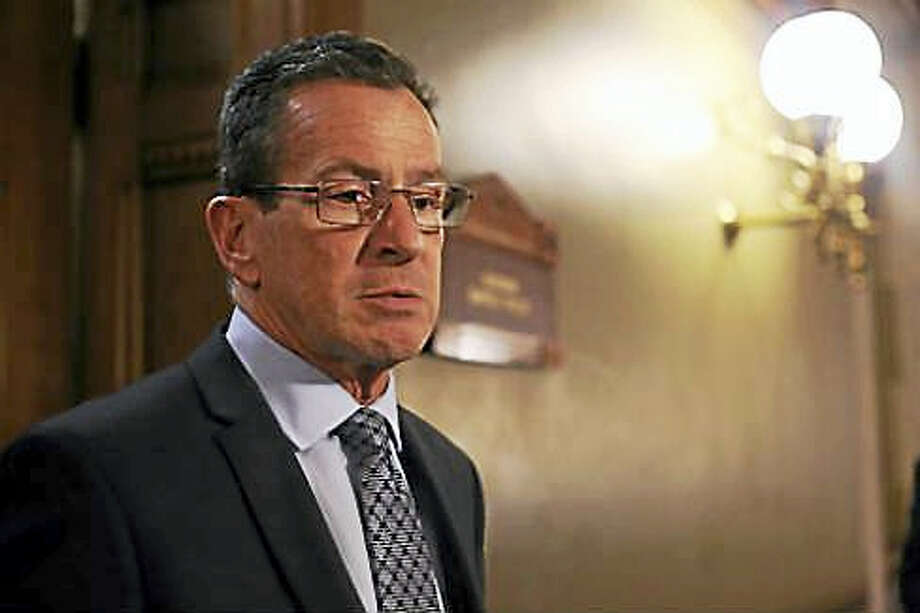 Gov. Dannel P. Malloy outside his Capitol office in Hartford last year following budget negotiations. Photo: Christine Stuart — CT News Junkie File Photo