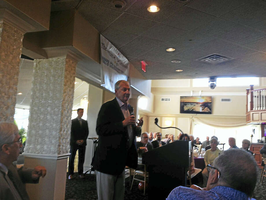 Former UConn men's basketball coach Jim Calhoun speaks at the 9th annual Farnam House Sports Breakfast at Anthony's Ocean View Thursday. Photo: Joe Morelli — Register
