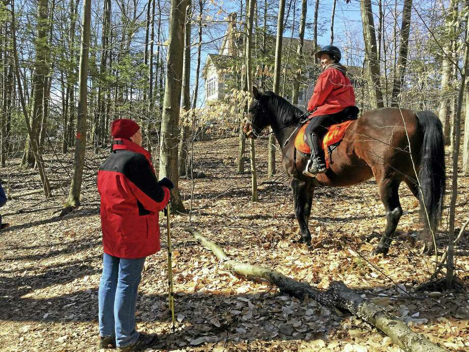 Here, a horseback rider pauses to allow the hikers to pass by. The horse enjoyed the attention of the hikers, particularly when a treat was offered for his excellent behavior. Photo: Courtesy Photo