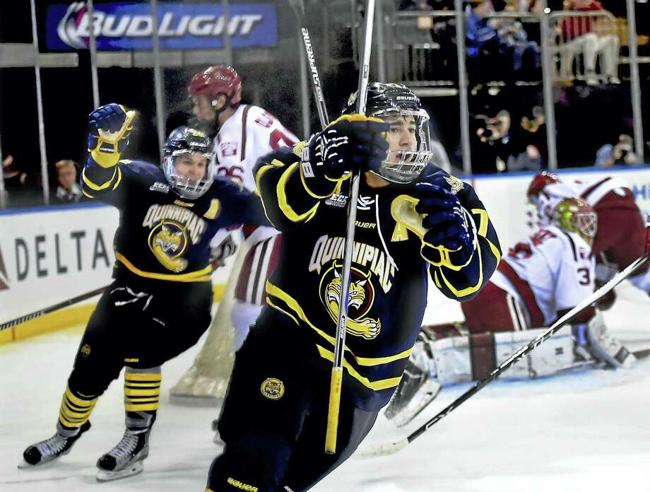 Quinnipiac's Sam Anas celebrates after scoring against Harvard on Jan. 9 in New York. Photo: Catherine Avalone — Register File Photo  / New Haven RegisterThe Middletown Press