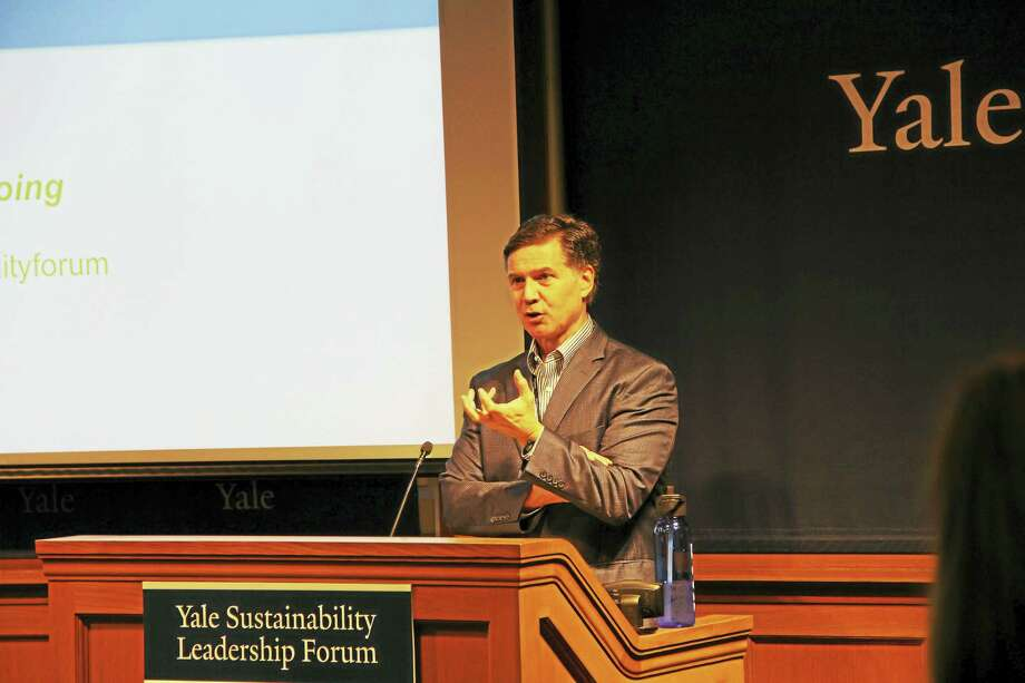 Hillhouse Professor of Enviromental Law and Policy Dan Esty opens first-ever Yale Sustainability Leadership Forum. Photo: Anna Bisaro — New Haven Register