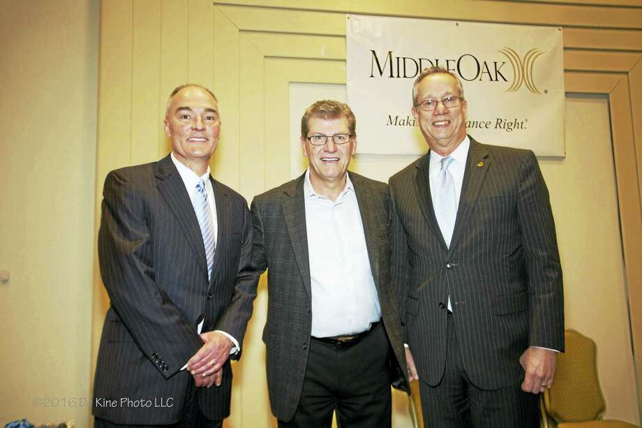 The Middlesex County Chamber of Commerce welcomed UConn Women's Basketball Coach Geno Auriemma as guest speaker on March 14. From left are MiddleOak CEO Gary Vallo, Auriemma and Essex Savings Bank President and Chamber Vice Chairman Greg Shook. Photo: De Kine Photo  / (c)DE KINE PHOTO LLC