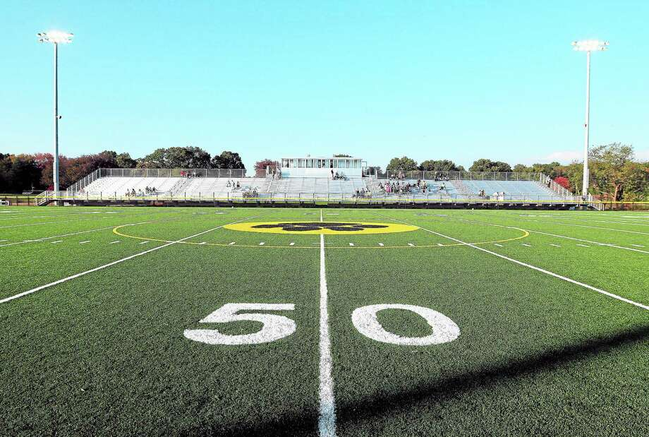 File photo: The artificial turf at Strong Field in Madison. Photo: (Arnold Gold — New Haven Register)