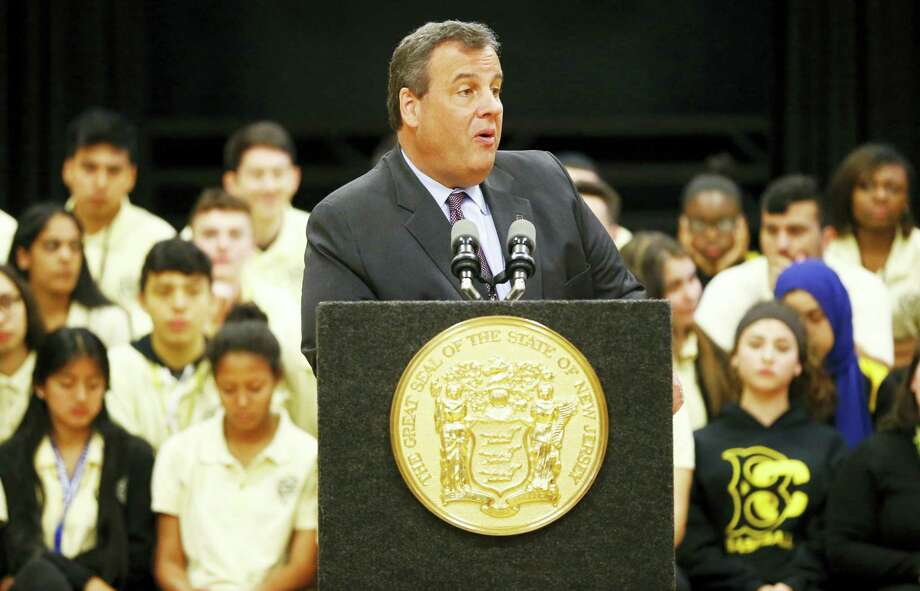 New Jersey Gov. Chris Christie talks during a visit to the Bergen Arts and Sciences Charter School, Wednesday, May 18, 2016, in Hackensack, N.J. The governor met with students, who displayed their science projects for him during the visit. Photo: AP Photo/Julio Cortez   / Copyright 2016 The Associated Press. All rights reserved. This material may not be published, broadcast, rewritten or redistribu