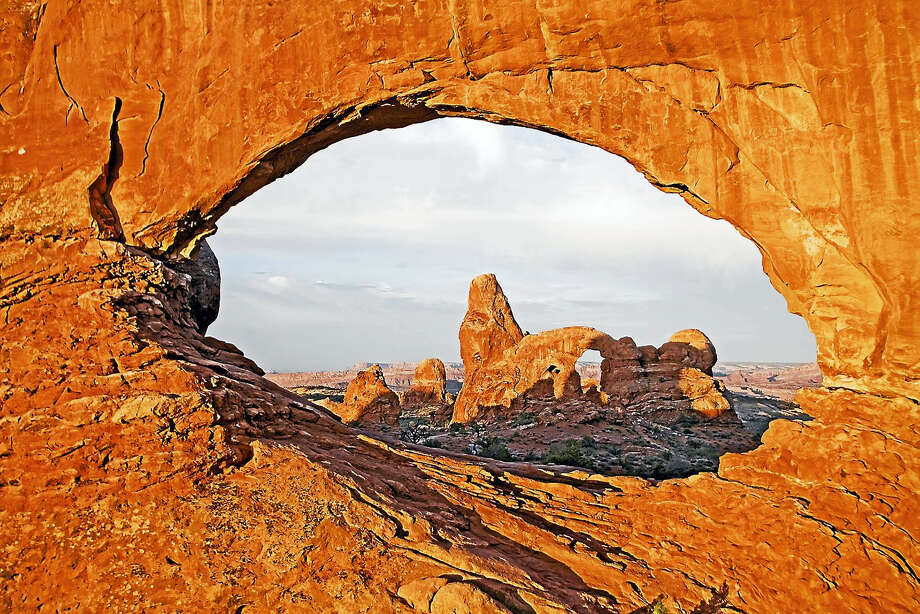 Contributed photoSunrise at North Window, Arches National Park, Utah, photograph on canvas, on display at Spectrum Gallery & Store in Centerbrook. Photo: Journal Register Co. / Robert Thomas