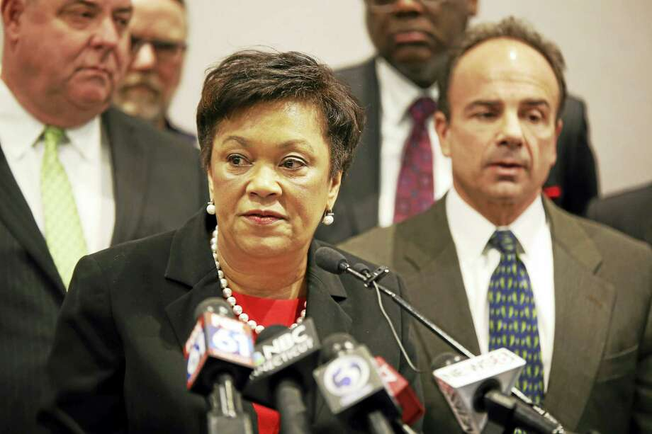 (Christine Stuart - CT News Junkie) New Haven Mayor Toni Harp, center, with Bridgeport Mayor Joe Ganim, at right, and Waterbury Mayor Neil O'Leary Photo: Journal Register Co.