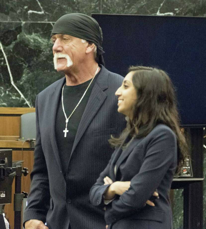 Former professional wrestler Hulk Hogan, left, along with attorney Seema Ghatnekar prepare to take a break just after the jury was handed Hogan's case against Gawker Media for deliberations on Friday, March 18, 2016, in St. Petersburg, Fla. Hogan, whose given name is Terry Bollea, is suing Gawker for $100 million for posting a video of him having sex with his former best friend's wife. Hogan contends the 2012 post violated his privacy. Photo: Boyzell Hosey/The Tampa Bay Times Via AP, Pool / Pool Tampa Bay Times