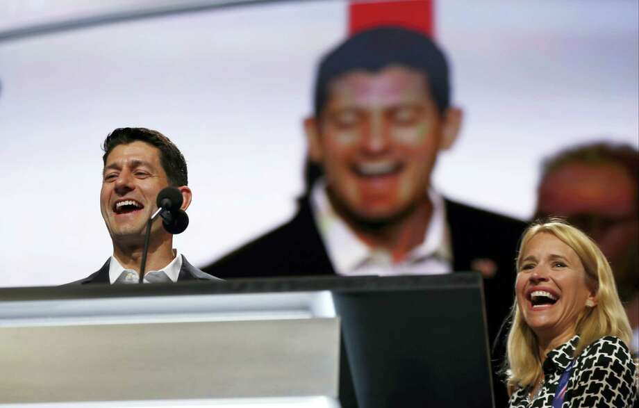 Speaker of the House Paul Ryan, R-Wis., joined by his wife Janna Ryan, checks out the stage during preparation for the Republican National Convention inside Quicken Loans Arena on July 17, 2016 in Cleveland. Photo: AP Photo/Carolyn Kaster  / AP