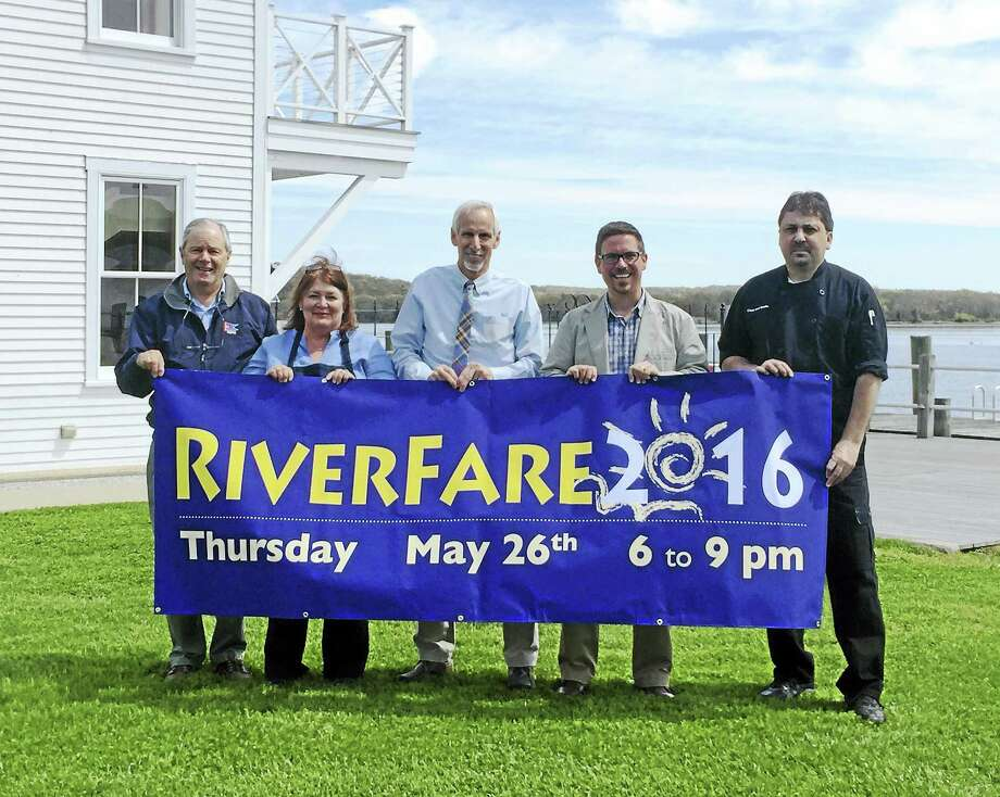 Contributed photo — Connecticut River Museum Connecticut River Museum Board Vice-Chair Tom Wilcox and Executive Director Christopher Dobbs are joined by some of the restauranteurs as well as Essex First Selectman Norman Needleman to celebrate the upcoming RiverFare 2016. From left to right: Tom Wilcox, Selene Sweck of Catering by Selene, Norman Needleman, Christopher Dobbs, and Chef Earl Swain of Cloud Nine Catering. Photo: Journal Register Co.