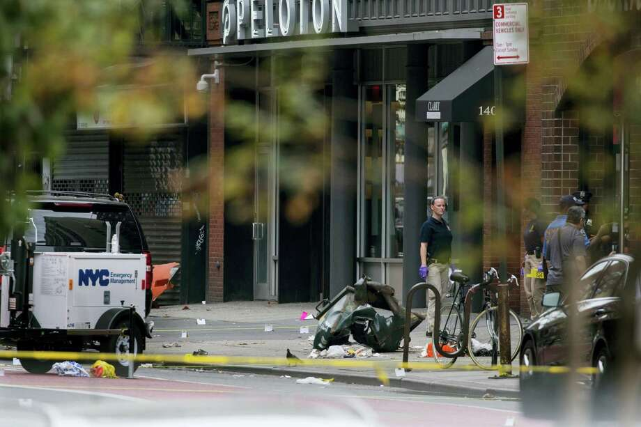 Debris and a mangled toolbox sit on the sidewalk at the scene of an explosion on West 23rd street in the Chelsea neighborhood of New York on Sept. 18, 2016, after an incident that injured passers-by Saturday evening. Photo: AP Photo/Craig Ruttle  / FR61802 AP