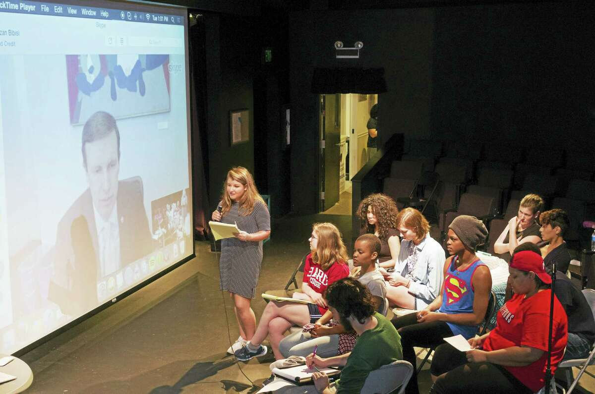 Higganum resident, Maddie Draper, 16, questions U.S. Sen. Chris Murphy Tuesday as part of research conducted for a play on gun control to be written by 11 interns of HartBeat's Youth Play Institute. The play's broad theme — gun control and the Second Amendment — was chosen before the Orlando mass shooting, and other shootings that have captured the nation's attention since, prompting the group to choose Murphy as one of their interview subjects.