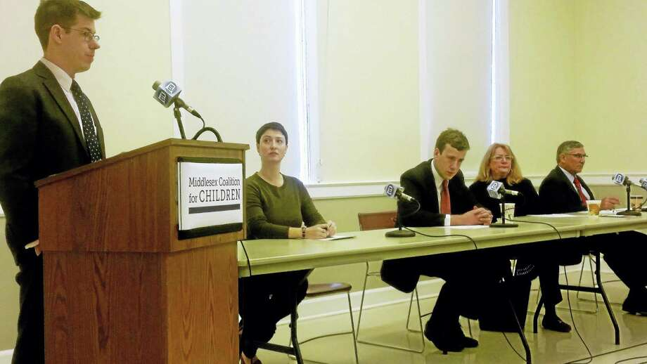 From left are David McGuire, Izzy Greenberg, state Rep. Matthew Lesser, state Rep. Noreen Korkoruda and state Sen. Len Fasano, who spoke at Thursday's forum at Middletown's deKoven House. Photo: Kathleen Schassler — The Middletown Press