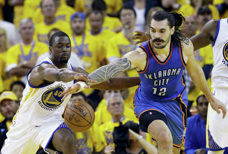 "Oklahoma City Thunder's Steven Adams (12) apologized again Tuesday for describing Golden State's guards as ""quick little monkeys"" in a televised on-court interview. Photo: Marcio Jose Sanchez — The Associated Press  / AP"