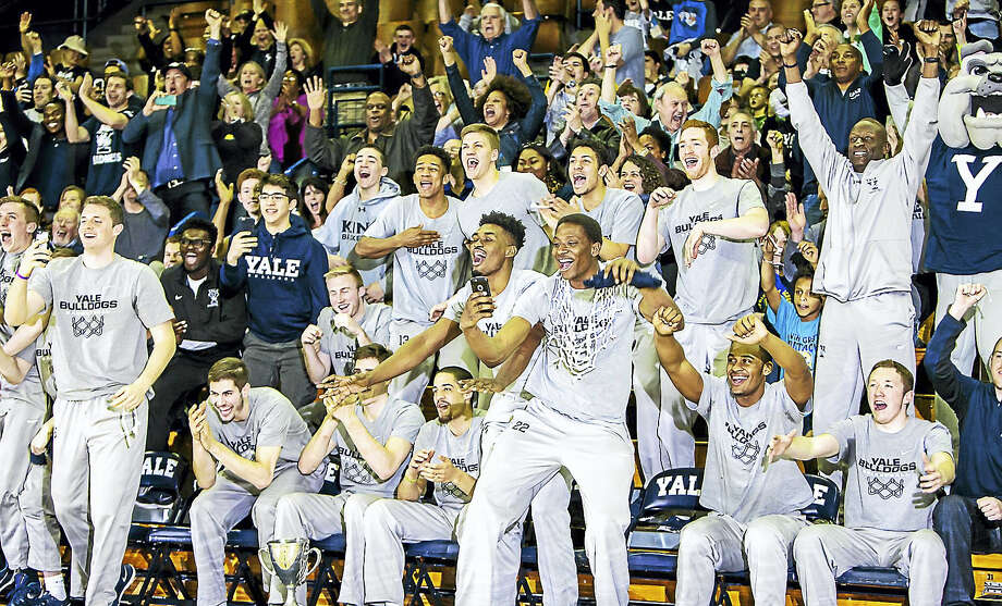 The Yale  Basketball team react with their fans to the NCAA Tournament selection as the number 12 seed in the West Region. The Bulldogs will take on Baylorin Providence in the opening round.- Photo: John Vanacore - For The Register  / (C)John H.Vanacore