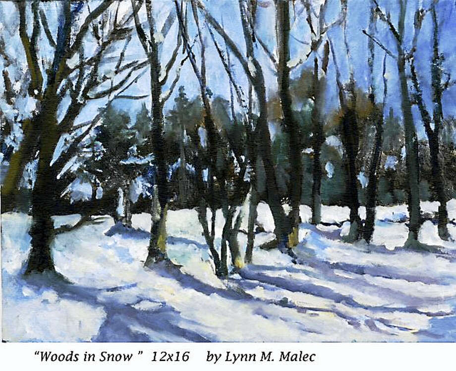 Contributed photoWoods in Snow, a painting by Lynn M. Malec, is part of Maple and Main Gallery's holiday show. Photo: Digital First Media