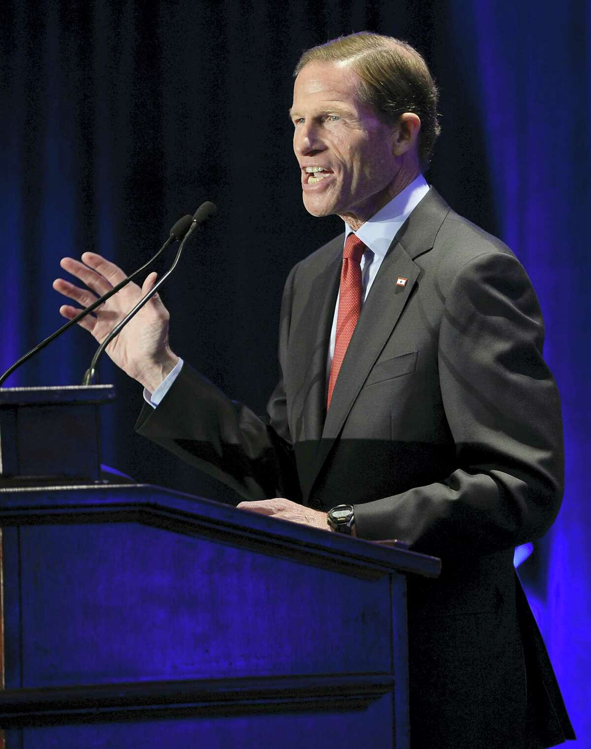 U.S. Sen. Richard Blumenthal, D-Conn., addresses supporters at an election night rally in November celebrating his victory in Hartford.