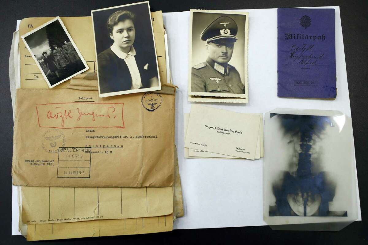 AP Photo/Francois Mori The files of a Nazi German officer, stored for years in the archives rooms of the medieval castle of Vincennes, are displayed in Vincennes, east of Paris, Wednesday, March 16, 2016. A team of French historians unveiled Wednesday some secret services' archives from WWII, letters, reports, cables and photos from the rival intelligence agencies of the French Resistance, the collaborationist Vichy regime and the Nazi German authorities.