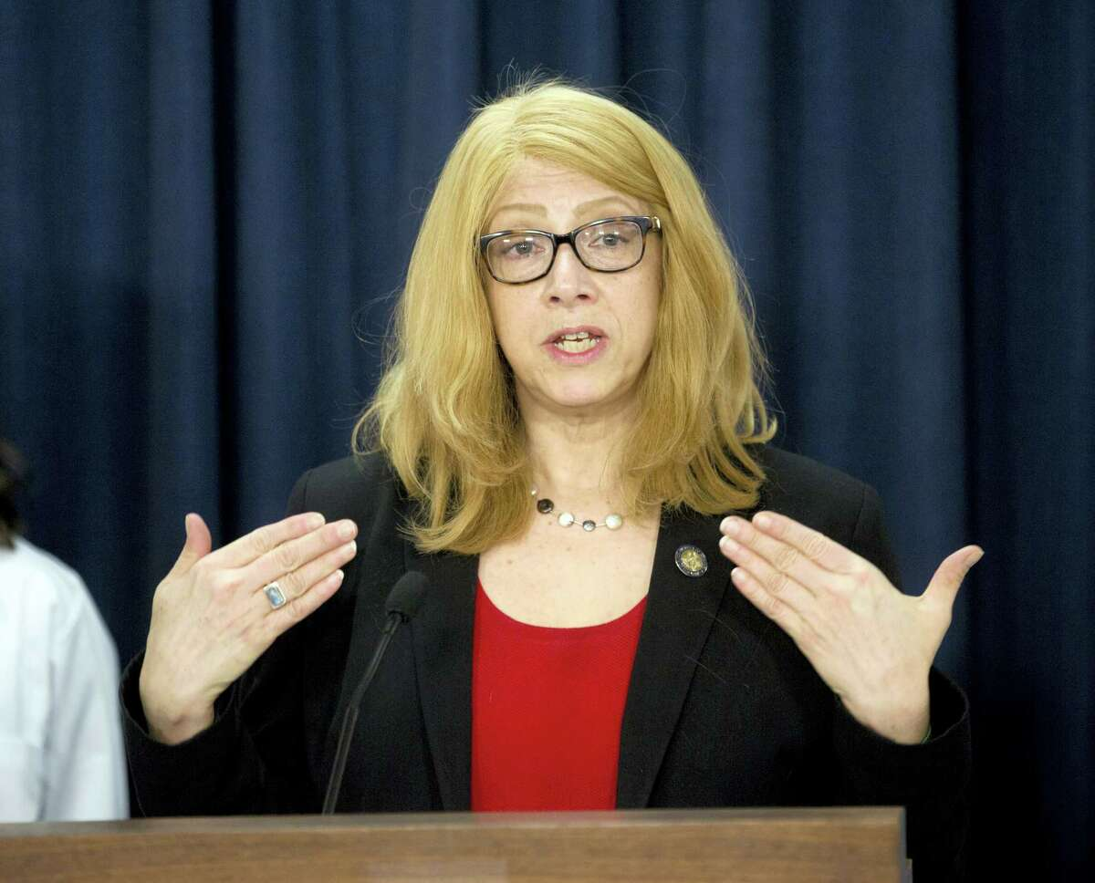 Assemblymember Linda Rosenthal, D-Manhattan, talks about her bill to ban the declawing of cats during a news conference on Tuesday, May 17, 2016, in Albany, N.Y.