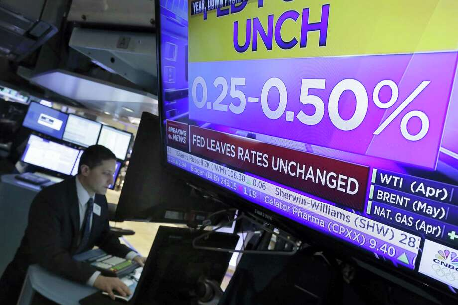 Specialist Jeffrey Berger works at his post on the floor of the New York Stock Exchange Wednesday. Photo: Richard Drew — The Associated Press  / Copyright 2016 The Associated Press. All rights reserved. This material may not be published, broadcast, rewritten or redistributed without permission.