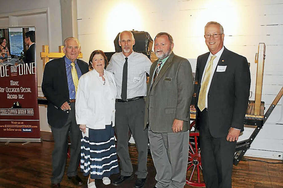 A Business After Work event was held Sept. 15 at Essex Steam Train & Riverboat. Shown, from left, are Middlesex County Chamber of Commerce President Larry McHugh, past Middlesex Chamber chairwoman Mary Ellen Klinck, Essex First Selectman Norm Needleman, President of Valley Railroad Company, Essex Steam Train & Riverboat Kevin Dodd, and Middlesex Chamber Chairman Gregory Shook. Photo: Contributed Photo