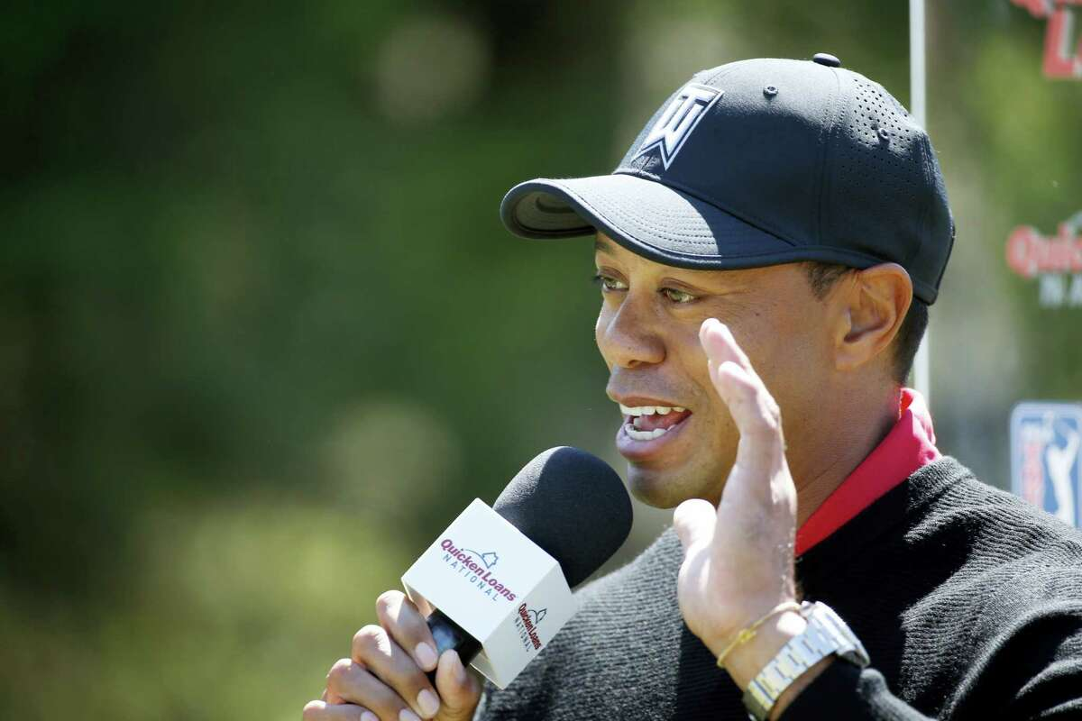 Tiger Woods speaks during a Quicken Loans National golf tournament media availability on Monday in Bethesda, Md.