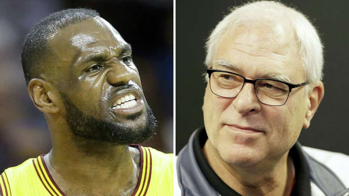 At left, Cleveland Cavaliers forward LeBron James reacts during the first half of Game 5 in a second-round NBA basketball playoff series against the Chicago Bulls, in Cleveland. At right, New York Knicks president Phil Jackson speaks to reporters during a news conference in Greenburgh, N.Y. LeBron James says he has lost respect for Phil Jackson after the famed NBA coach used the word 'posse' to describe the Cleveland star's business partners. James responded harshly on Tuesday, Nov. 15, 2016 to Jackson's use of the term in a recent interview.