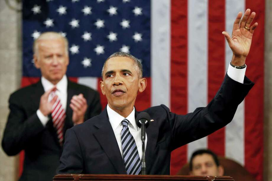 President Barack Obama waves at the conclusion of his State of the Union address to a joint session of Congress on Capitol Hill in Washington, Tuesday, Jan. 12, 2016. Photo: AP Photo/Evan Vucci, Pool / AP Pool