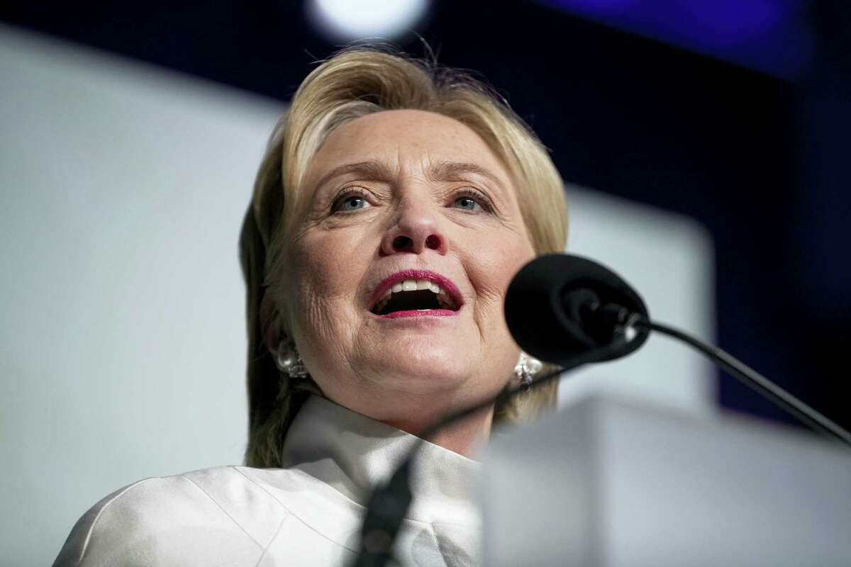 Democratic presidential candidate Hillary Clinton speak at the Congressional Black Caucus Foundation's Phoenix Awards Dinner at the Washington Convention center, in Washington on Sept. 17, 2016 after receiving the Phoenix award.