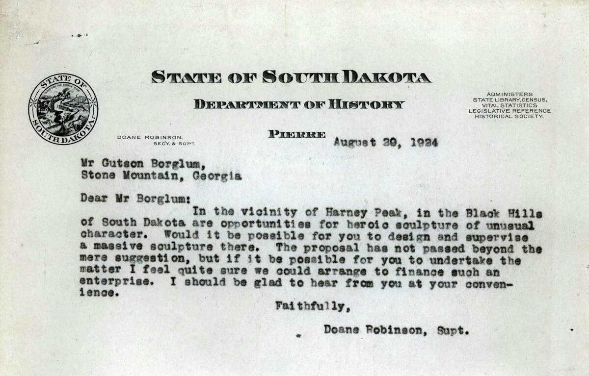 This undated photo provided by the South Dakota State Historical Society shows a letter dated Aug. 29, 1924, that then-South Dakota Department of History Superintendent Doane Robinson sent to sculptor Gutzon Borglum proposing a project in the Black Hills that years later would become the Mount Rushmore National Memorial. In October 2016, the memorial that through the years has become the state's most famous attraction and draws about 3 million visitors a year will mark 75 years since it was completed.