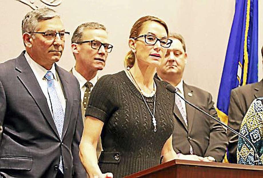 House Minority Leader Themis Klarides and Senate Minority Leader Len Fasano. Photo: Christine Stuart — CT News Junkie