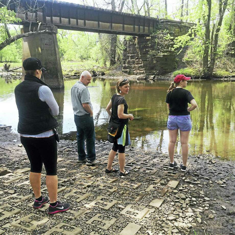 The area near the new cartop boat launch along the Coginchaug River was a stop along a tour of city brownfields on Saturday. Photo: Nathan Kelly — Horsley Witten Group