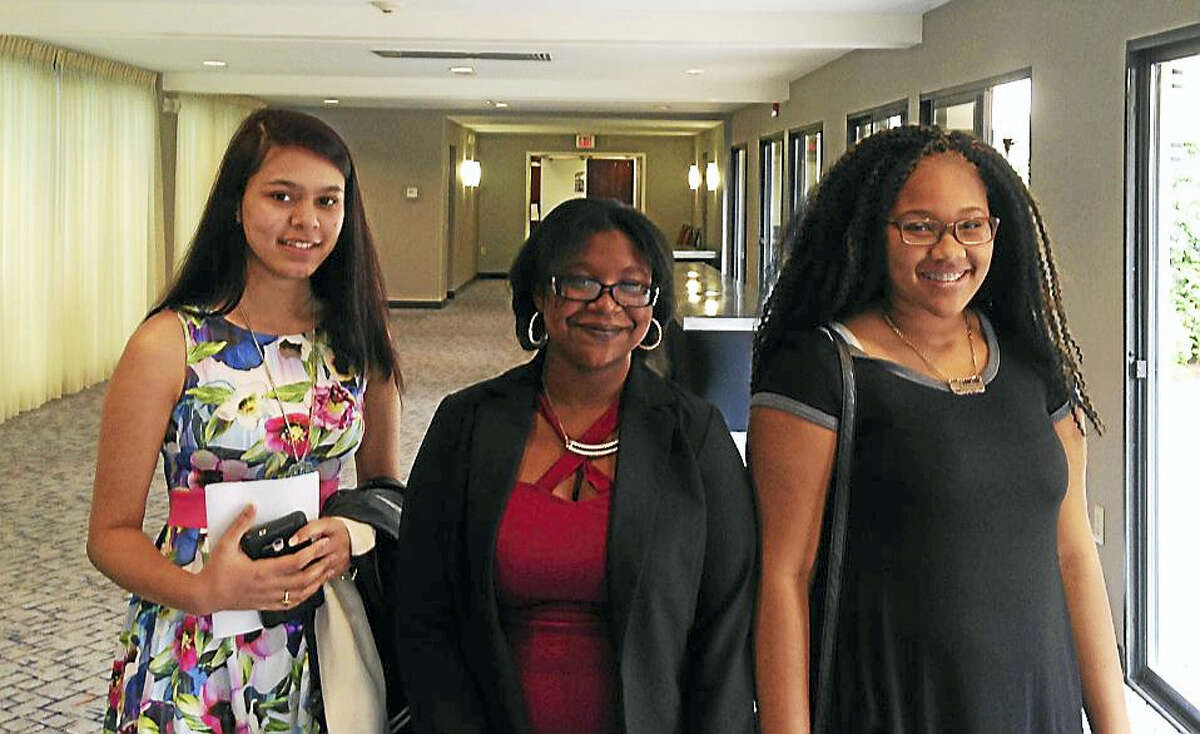 From left are Middletown High School 10th-graders Archies Marahatta and Montianna Scharborough, and ninth-grader Razahnae Watson. All took part in the Wesleyan University Upward Bound program in Middletown.