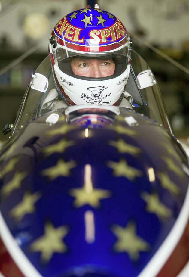 In a Thursday, Sept. 1, 2016, photo, stuntman Eddie Braun gives feedback after getting into the cockpit of The Evel Spirit, a steam powered rocket, at the team's shop in Twin Falls, Idaho. Braun is preparing to attempt to jump the Snake River Canyon in a replica of Evel Knievel's rocket. Photo: Drew Nash/The Times-News Via AP   / The Times-News