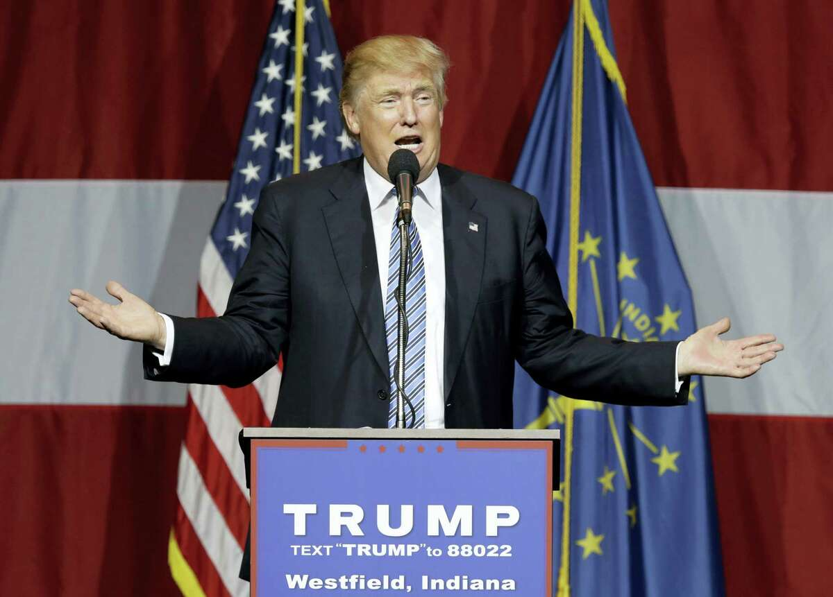 """Republican presidential candidate Donald Trump speaks at a rally in Westfield, Ind. Trump abruptly postponed plans to announce his vice presidential pick Thursday night following a day of rampant speculation, citing the """"horrible attack"""" in Nice, France."""