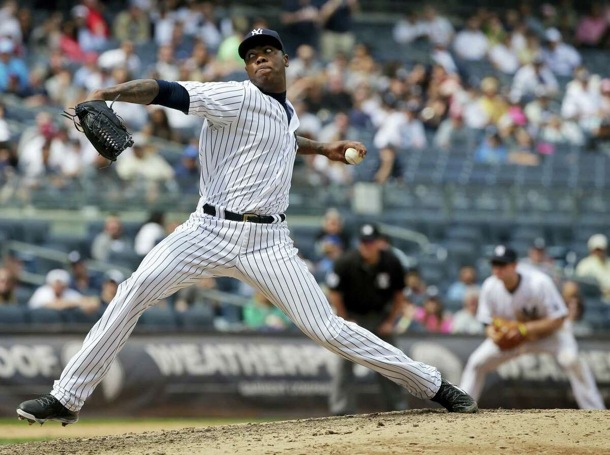 Aroldis Chapman picked up his second save of the season in the Yankees' 2-1 win.