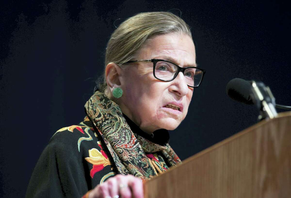 In this Jan. 28, 2016 file photo, Supreme Court Justice Ruth Bader Ginsburg speaks at Brandeis University in Waltham, Mass. Ginsburg says she regrets comments on Republican presidential candidate Donald Trump.