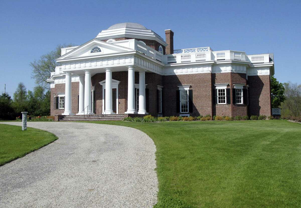 In this May 11, 2016, photo, a replica of Thomas Jefferson's Monticello stands in Somers. Friendly's ice cream co-founder S. Prestley Blake is auctioning off the home he had built in 2014 for $7.7 million.