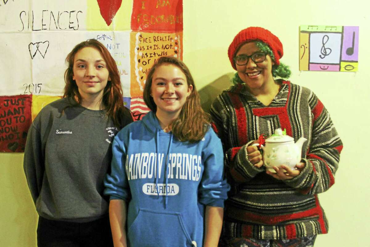 """From left are Samantha Veazie, Reanna Holmes and Lexi McGuigan, all students of Epoch Arts in East Hampton. """"It's given me family, friends and hope for a brighter future,"""" McGuigan said."""