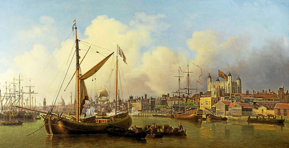 """A frame-cropped image of Scott's """"The Thames and the Tower of London."""""""