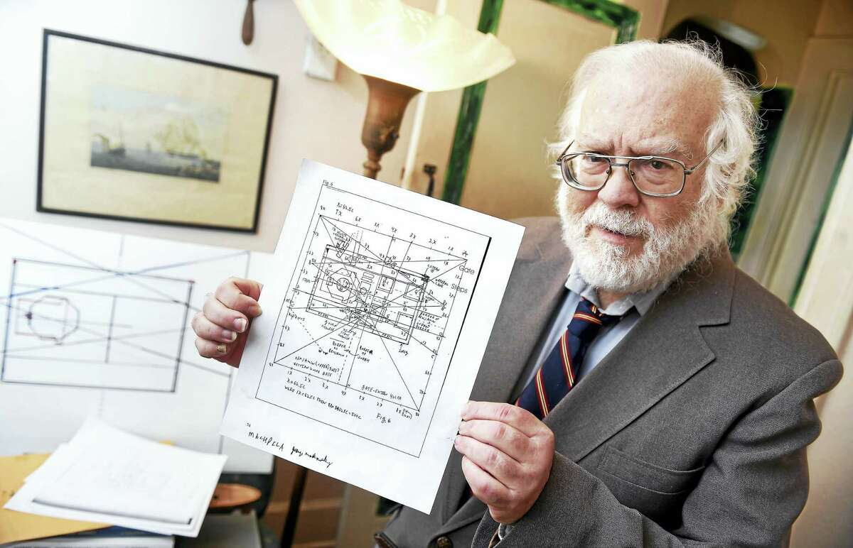 (Arnold Gold-New Haven Register) Robert Kerson of New Haven shows off his calculations pinpointing the location the First and Second Temple on the Temple Mount in Jerusalem on 1/4/2016.