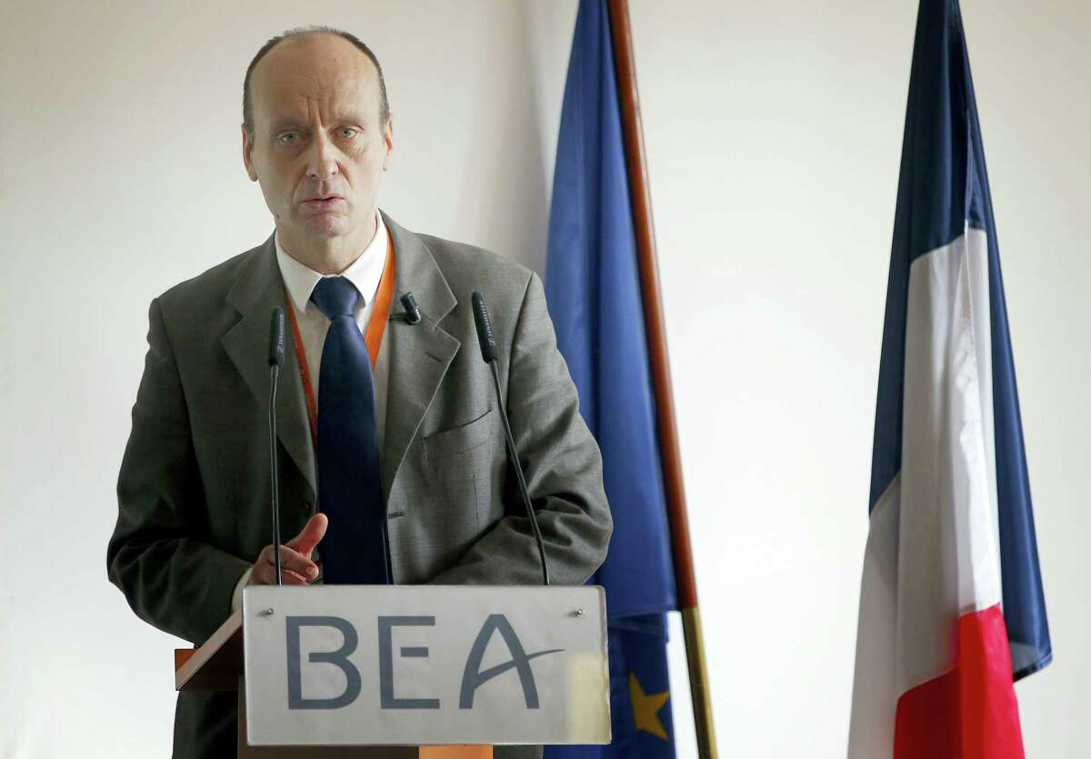 Remi Jouty, director of BEA, the French Air Accident Investigation Agency, delivers a speech during a press conference at Le Bourget airport, north of Paris on March 13, 2016. Germanwings co-pilot Andreas Lubitz had been treated for depression in the past, and the investigation found that he had consulted dozens of doctors in the weeks before he deliberately crashed a jet into the French Alps on March 24, 2015, killing all 150 people on board.